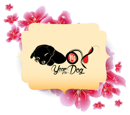 Spring sale banner design with Sakura blossom. Chinese new year 2018.