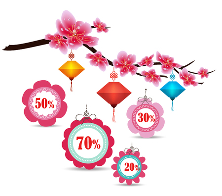 Spring sale label design with sakura flowers. Cherry blossoms and lantern, chinese new year