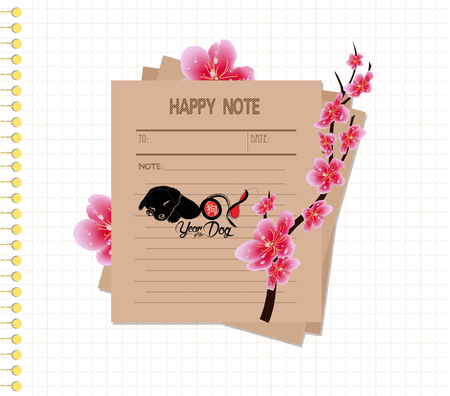 Cherry blossom happy notes retro.