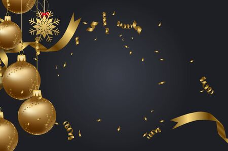 numbers abstract: Christmas confetti gold and black colors Illustration