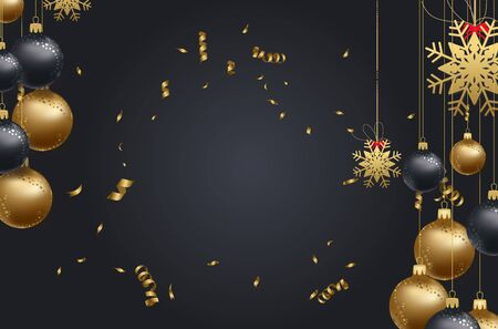 numbers abstract: happy new year 2018 background with christmas confetti gold and black colors lace for text 2018