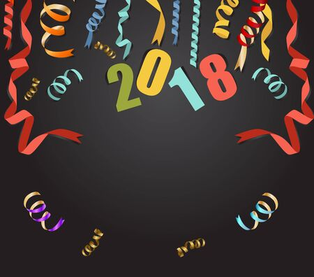 numbers abstract: New year 2018 background with gold confetti and black colors. Illustration