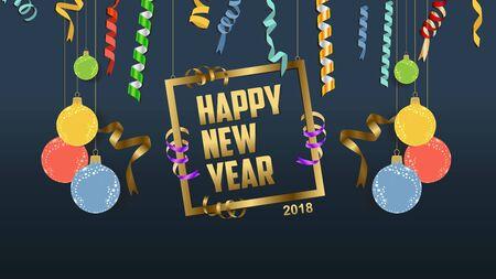 calendar design: Happy new year 2018 confetti and fame celebration. Colorfull  greeting decoration Illustration
