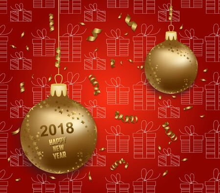 numbers abstract: Merry christmas and  happy new year 2018 gold balls