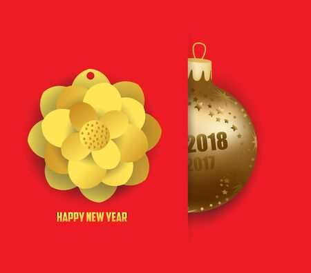 Merry christmas and  happy new year 2018 card with gold balls Illustration
