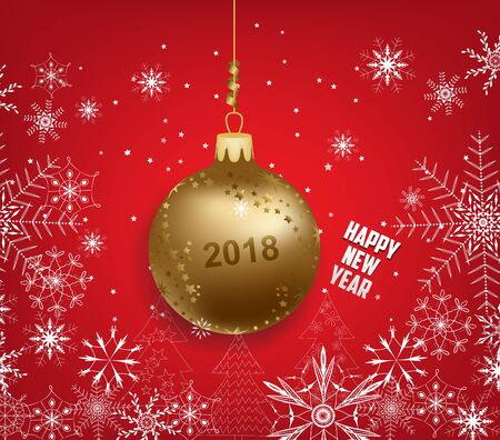 calendar design: happy new year 2018 background with ball and snowflakes