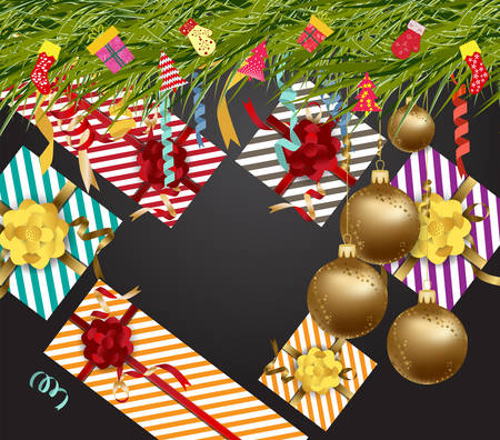 Gifts and Christmas decorations icon.