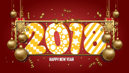 numbers abstract: vector illustration of happy new year 2018 wallpaper gold balls and colorful Illustration