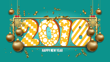 calendar design: vector illustration of happy new year 2018 wallpaper gold balls and colorful Illustration