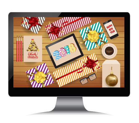 smartphone: Happy new year 2018 with gifts.