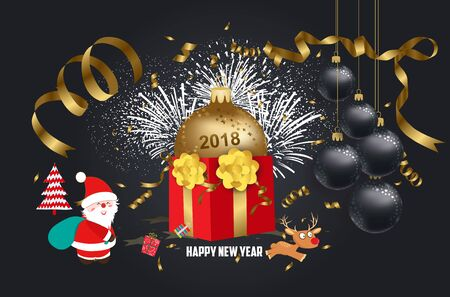 calendar design: Vector illustration of Christmas 2018 background with Santa Claus. Christmas confetti gold and deer