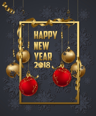 calendar design: Luxury Elegant Merry Christmas and happy new year 2018 poster. Frame and gold christmas balls