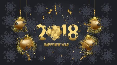 numbers abstract: Luxury Elegant Merry Christmas and happy new year 2018 poster. Christmas balls