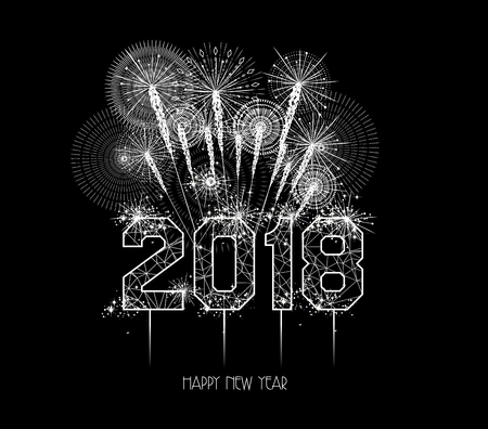 New Years 2018 polygonal line and fireworks.