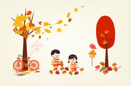 Hallo herfst grappige kinderen van een bos in de herfst met bladeren vallen.