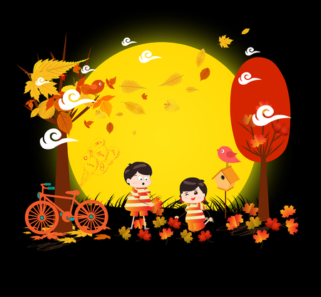 Hello autumn funny kids of a forest in autumn with leaves falling and bicycle under the moonlight Illustration