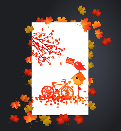 Autumn background with maple leaves card Illustration