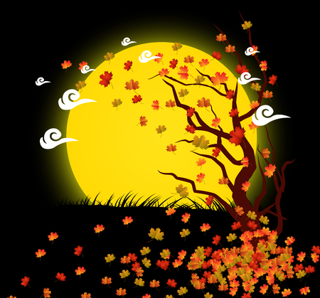 Natural background with leaves and moonlight