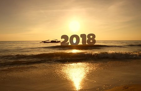 Silhouette Happy new year for 2018 on sunrise sky background