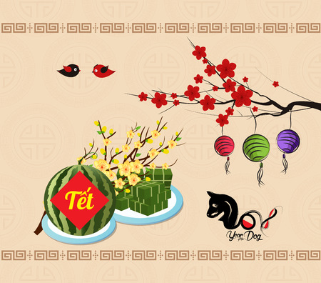 """Cooked square glutinous rice cake and blossom, Vietnamese new year. (Translation """"T?t"""" : Lunar new year)"""