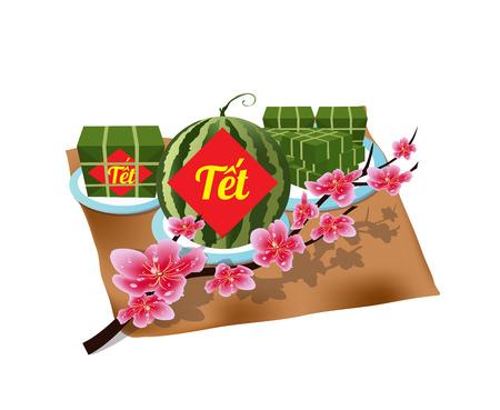 """베트남어 신년 정사각형 찹쌀 떡 및 꽃 요리. (번역 """"T? t"""": 설날)"""