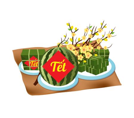 """Gekookte vierkante kleverige rijstcake en bloesem, Vietnamees nieuw jaar. (Vertaling """"T? T"""": nieuw maanjaar) Vector Illustratie"""