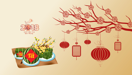Cooked square glutinous rice cake and blossom, wallpapers. Vietnamese new year. (Translation T?t: Lunar new year)