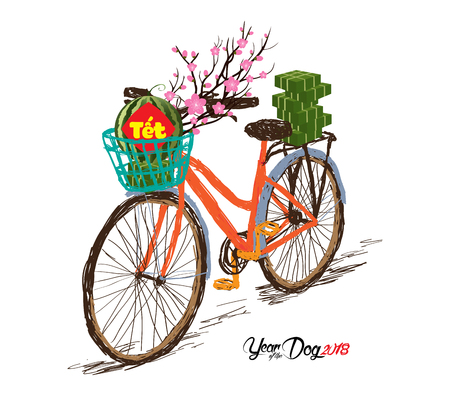 Cooked square glutinous rice cake and blossom, bicycle. Vietnamese new year. (Translation T?t: Lunar new year)