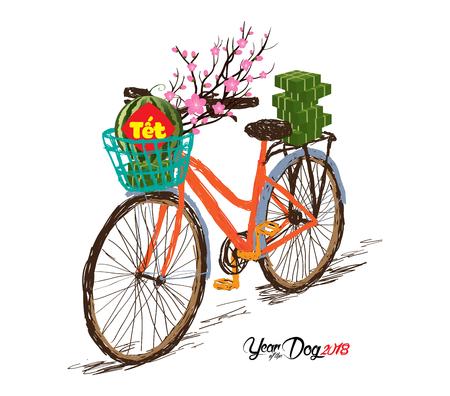 """Gâteau de riz gluant carré cuit et fleur, vélo. Nouvel an vietnamien. (Traduction """"T? T"""": nouvelle année lunaire) Banque d'images - 87112472"""