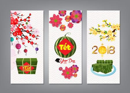 """Gekookte vierkante kleverige rijstcake en bloesem, banner. Vietnamees nieuwjaar. (Vertaling """"T? T"""": nieuw maanjaar)"""