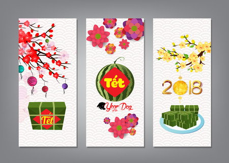 Cooked square glutinous rice cake and blossom, banner. Vietnamese new year. (Translation T?t: Lunar new year) Illustration