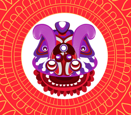 Chinese New Year Lion dance head on a red background. Illustration