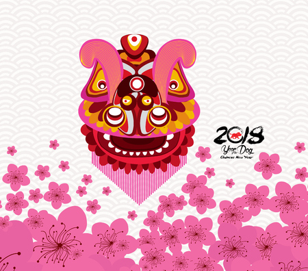 Chinese New Year card with plum blossom and lion dance in traditional Chinese background.