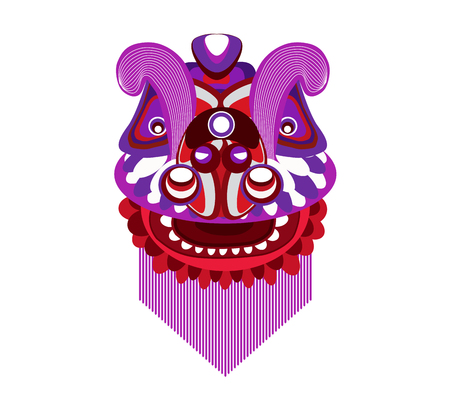 Chinese New Year Lion dance head on a white background.