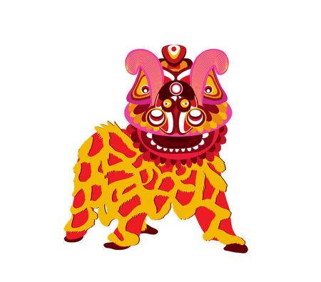 Chinesische Feier des neuen Jahres und Lion Dance auf einem weißen Hintergrund. Standard-Bild - 87273797
