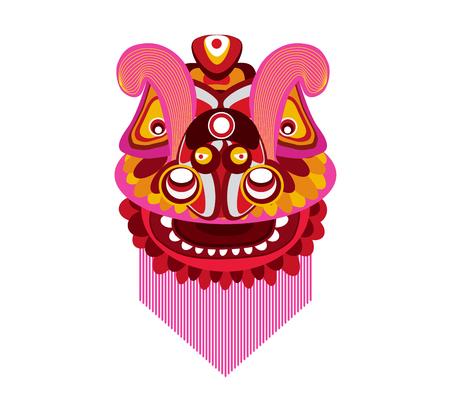 Löwetanzkopf des Chinesischen Neujahrsfests auf einem weißen Hintergrund. Standard-Bild - 87273801