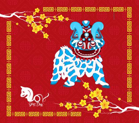Chinesisches neues Jahr 2018. Jahr des Hundehintergrundes mit Löwetanz. Standard-Bild - 87273802