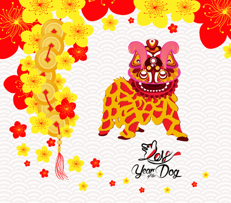 Oriental Happy Chinese New Year 2018. lion dance Design. Year of the dog Çizim