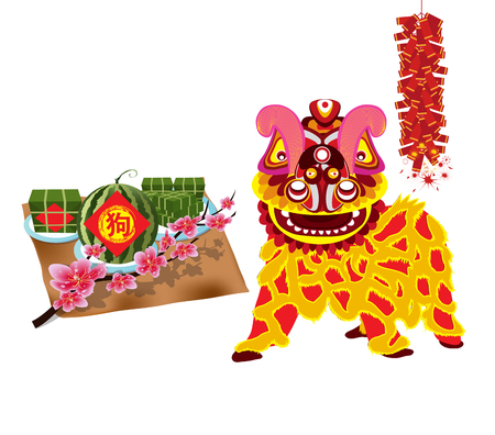 Dancing lion and rice cake icon.