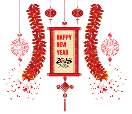 2018 Chinese New Year Greeting Card with scroll banner on a white background.