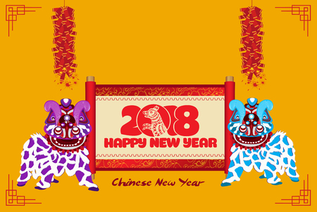 Lion dancing Chinese new year with scroll banner and firecracker. Illustration