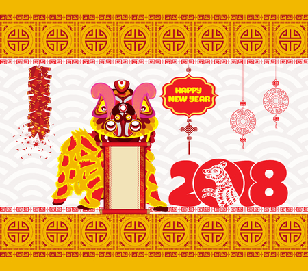 Lion dancing head and Chinese new year 2018 with firecracker.