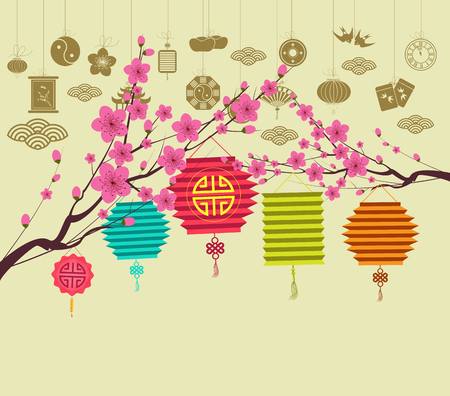 Oriental Happy Chinese New Year 2018 blossom.