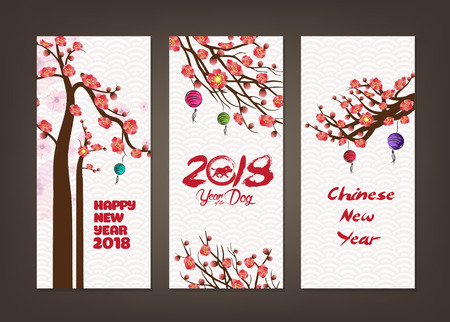 Vertical hand drawn banners set with blossom chinese New Year Çizim