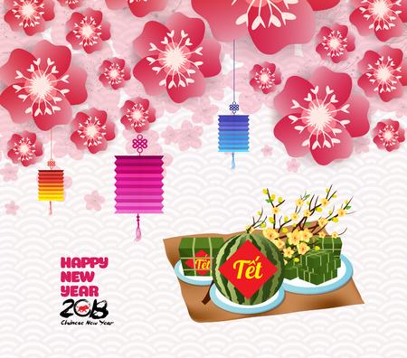 Chinese new year background blossom sakura branches, Vietnamese new year. (Translation