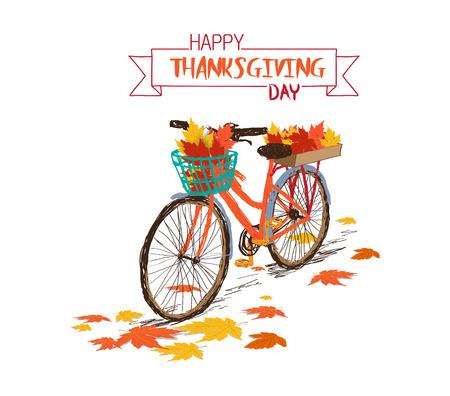 Feliz día de acción de gracias. Dibujado a mano bicicleta tintage con hojas de otoño en la cesta trasera Foto de archivo - 88534785