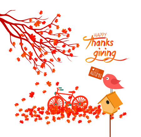 Happy Thanksgiving Day. Autumn maple leaves background with banner Illustration