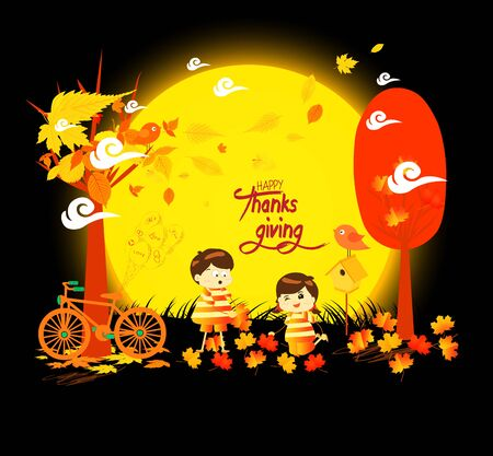 Happy Thanksgiving Day funny kids of a forest in autumn with leaves falling and bicycle under the moonlight
