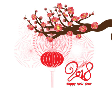 Happy new year 2018 greeting card and chinese new year of the dog with Cherry blossom background Çizim