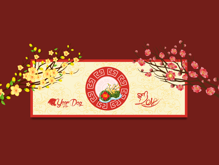 Vietnamese New Year concept with floral and watermelon design in colorful illustration.  イラスト・ベクター素材